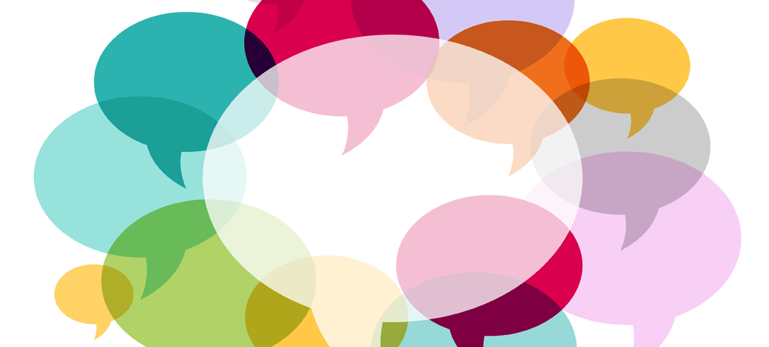 Colorful overlapping speech bubbles
